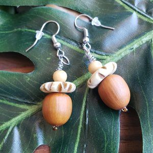 Real Acorn And Wooden Bead Earrings